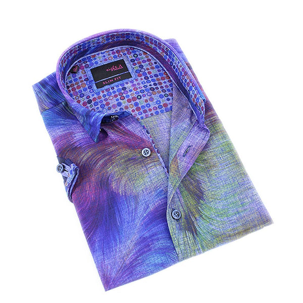 Men's slim fit blue wavy design print short sleeve collar button up dress shirt