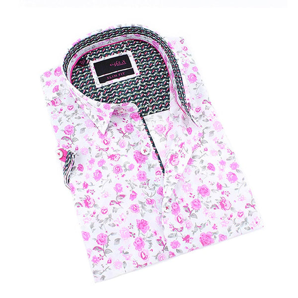 Men's slim fit white button up collar shirt sleeve dress shirt with pink rose design