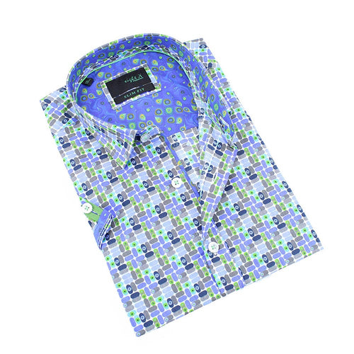 Men's slim fit blue retro print button up collar dress shirt