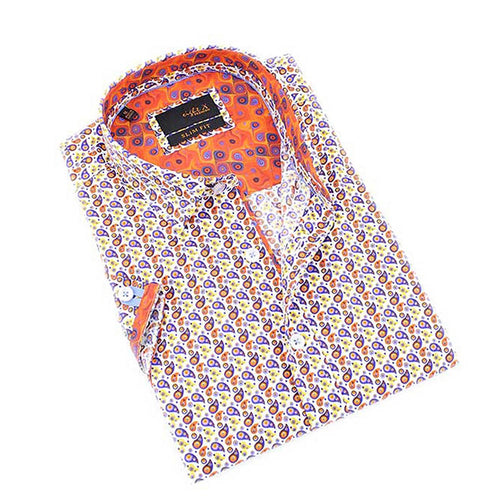 Men's slim fit button up collar dress shirt with multi colored paisley print design
