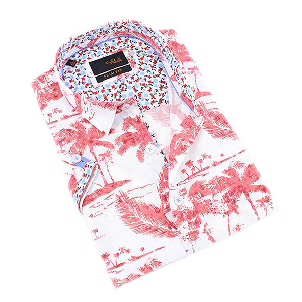Men's signature slim fit white short sleeve collar dress shirt with red palm print designs with floral trim