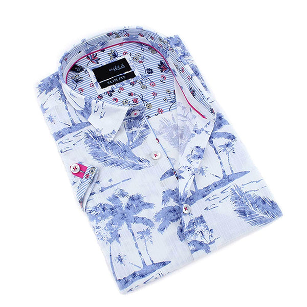 Men's slim fit white button up collar short sleeve dress shirt with fuchsia accent and indigo palm tree print designs