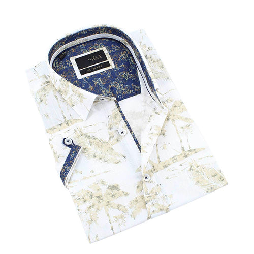 Men's slim fit white and beige palm tree print short sleeve button up collar dress shirt with navy print trim