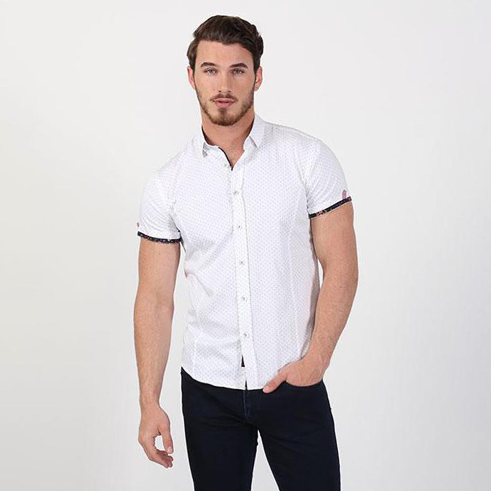 Dots Short Sleeve Shirt With Floral Trim