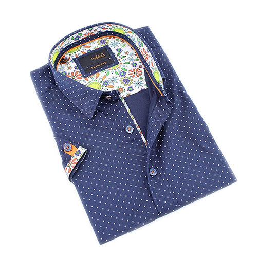 Men's slim fit navy blue button up collar dress shirt with polka dot colorful print trim