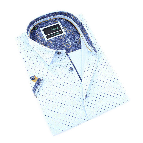 Men's slim fit blue button up dress collar blue polka dot shirt with paisley print trim