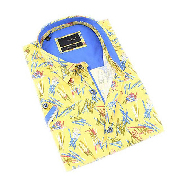 Yellow 90's retro scribble print short sleeve slim fit button up with collar and contrasting trims