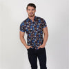Navy Blue 90's retro scribble print short sleeve slim fit button up with collar and contrasting trims