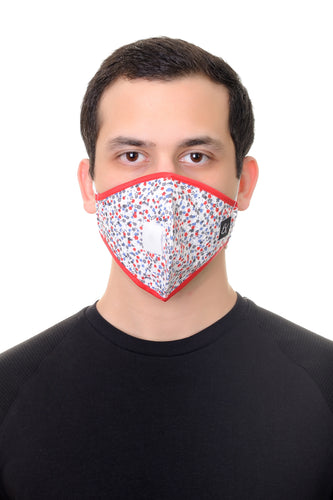 Mask W/ Straw Hole White Red Floral Print