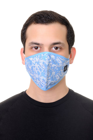 Face Mask L.Blue Floral Print