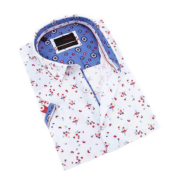 Men's slim fit shirt red flower print  white button up collar dress  blue print trim