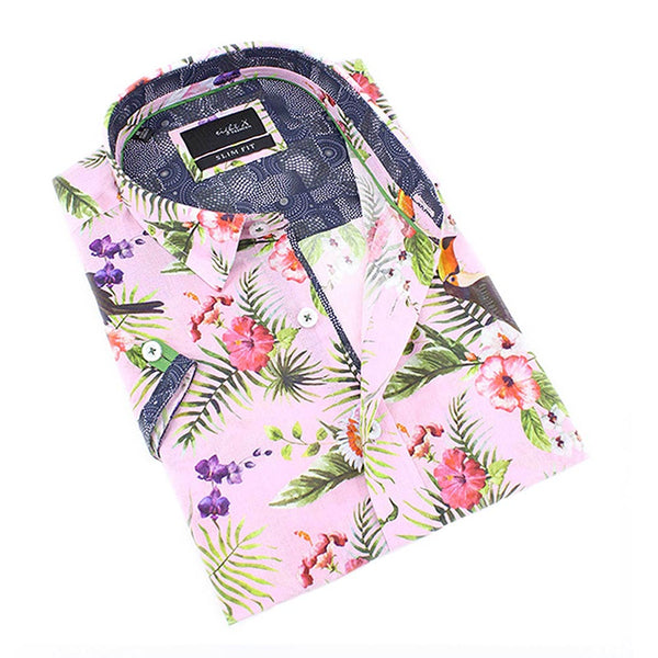 Men's slim fit pink tropical design print collar button up short sleeve dress shirt