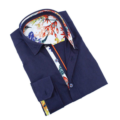 Men's slim fit navy button up collar dress shirt with floral print trim