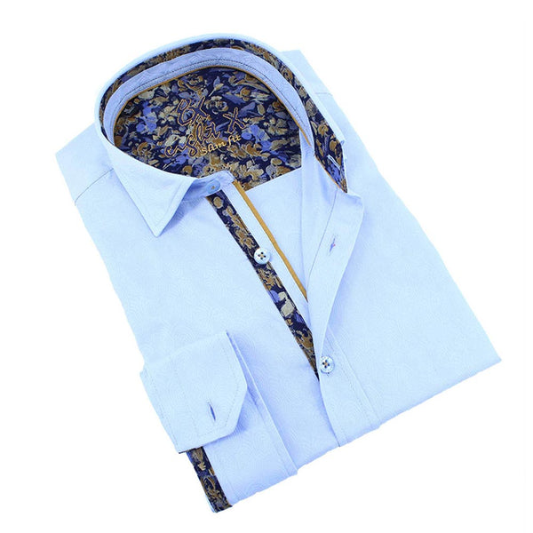 Men's slim fit light blue floral trim collar button up dress shirt