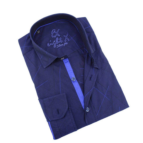 Men's slim fit navy button up collar dress shirt with blue trim