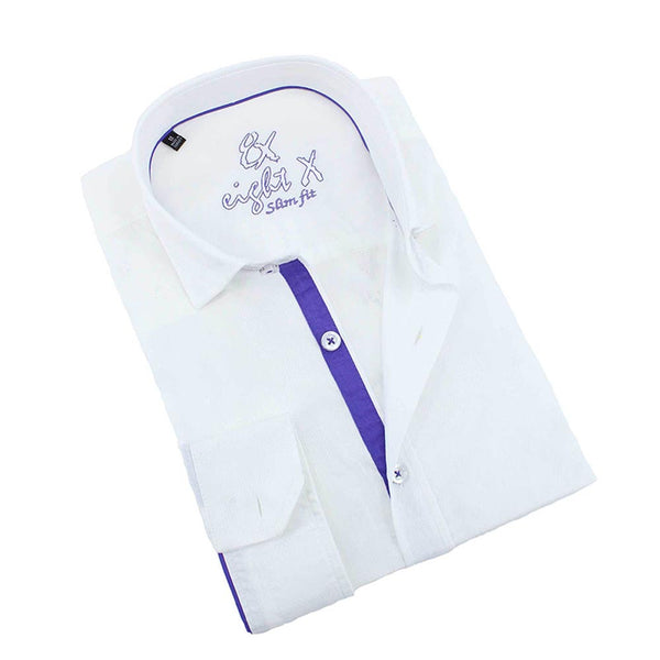 Men's slim fit long sleeve white jacquard shirt with purple trim