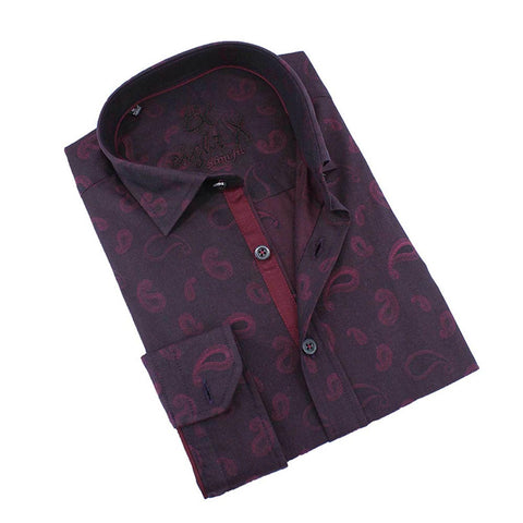 Men's slim fit burgundy paisley print button down collar dress shirt with trim