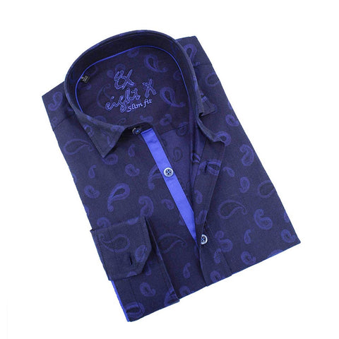 Men's slim fit navy paisley jacquard button up collar shirt with blue trim