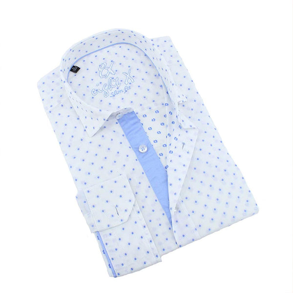 Men's white slim fit button down collar dress shirt with blue fil coupé and blue trim