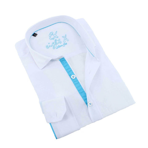 Men's White slim fit dress button down shirt with blue trim