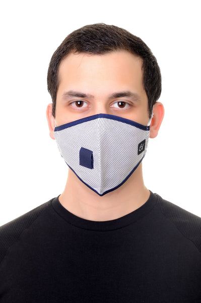Mask W/ Straw White Navy Polka Dots Print
