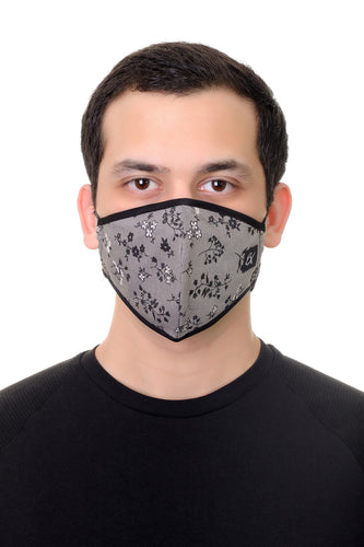Face Mask Grey Mini Floral print