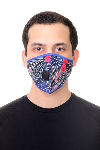 Face Mask W/ Straw Hole Blue Tropical Flowers print