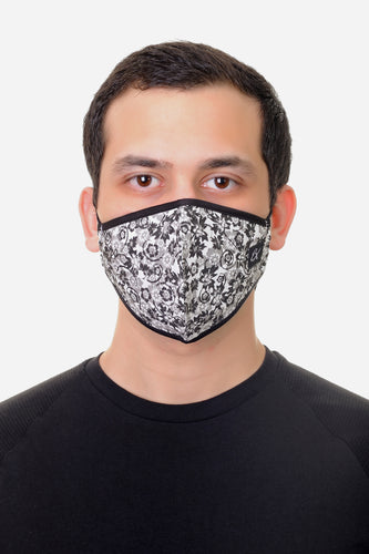Face Mask Black/White Floral print