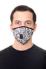 Mask W/ Straw Hole Black White Floral Print