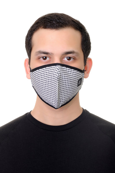 Face Mask White Geo print