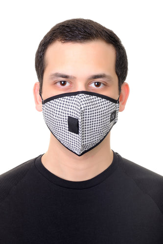 Face Mask W/ Straw Hole White and Black Print