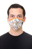 Face Mask White/Mustard Print