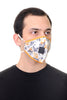 Mask W/ Straw Hole White Mustard Print