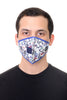Face Mask W/ Straw Hole White Multi Floral Print