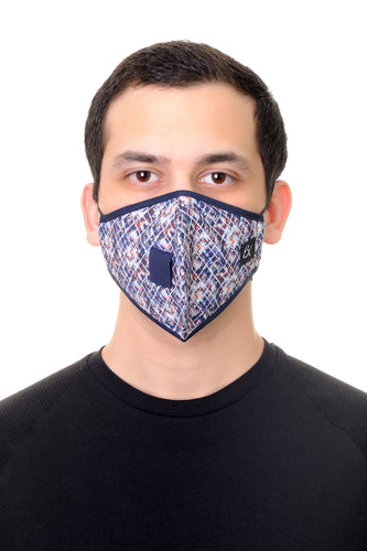 Mask W/ Straw Hole Multi Geo Print