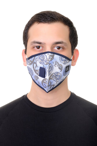 Face Mask W/ Straw Hole Blue Paisley Print