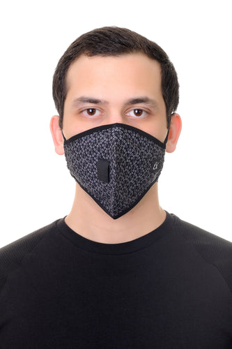 Face Mask W/ Straw Hole Black Squares Print