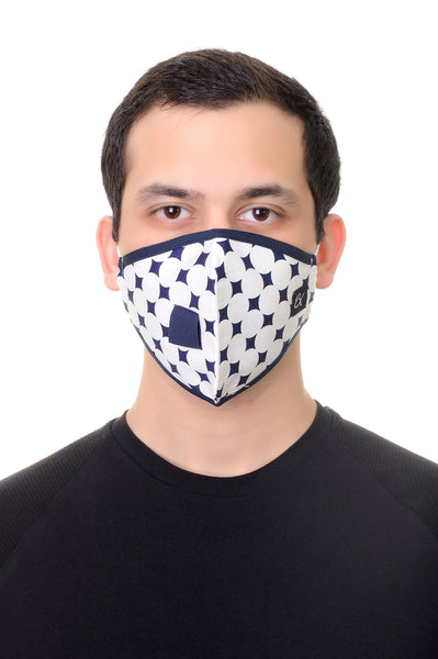 Mask W/ Straw Hole Navy Diamond Print