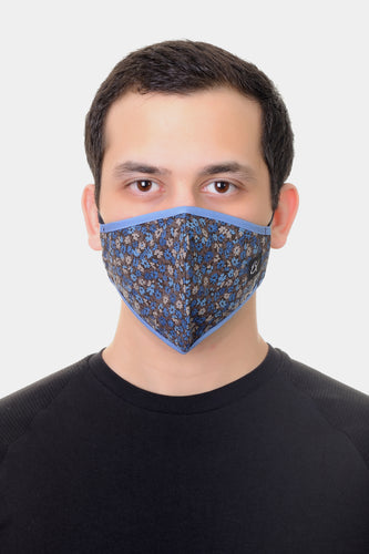 Face Mask Blue Mini Floral print