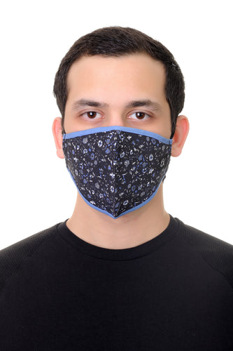 Face Mask Navy Mini Floral print