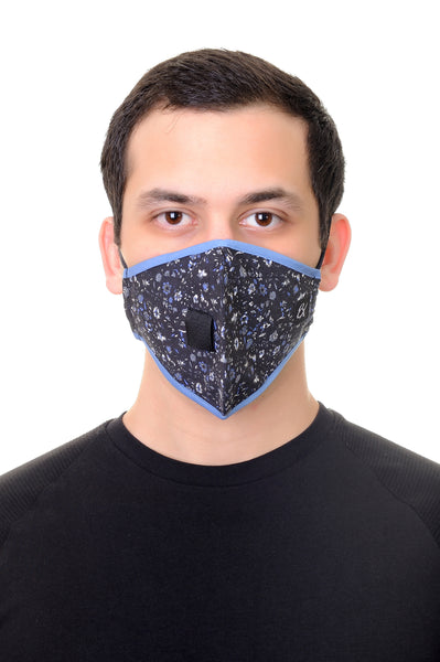 Mask W/ Straw Hole Navy Mini Floral Print