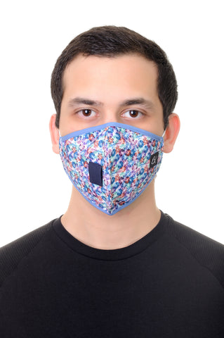 Face Mask W/ Straw Hole Multi Geo Shapes Print