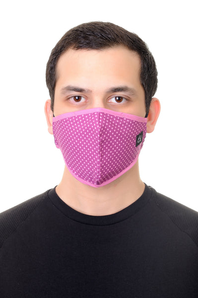 Face Mask Fuchsia Polka Dot Print