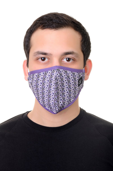 Face Mask Lilac Gears Shape Print