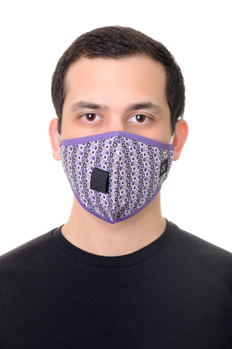 Face Mask W/ Straw Hole Lilac Gears shapes Print