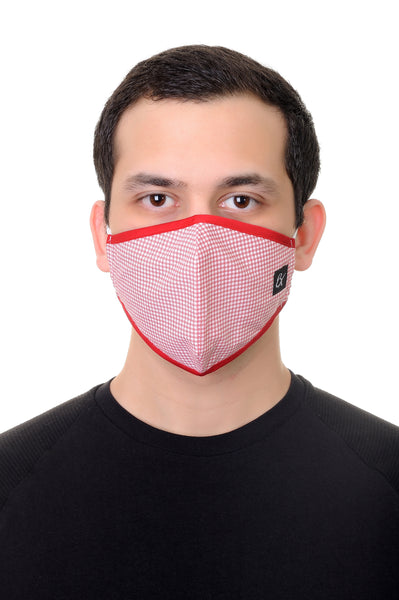 Face Mask Red Grill print