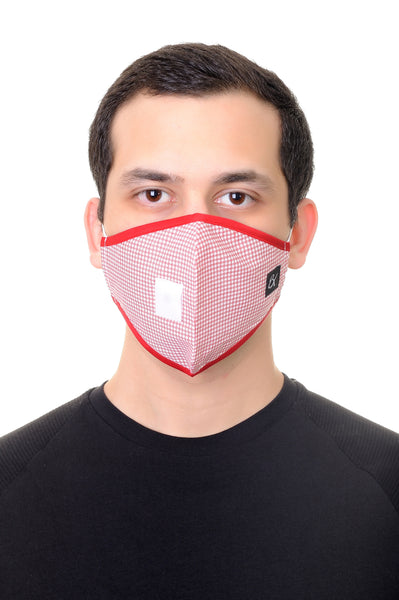 Face Mask W/ Straw Hole Red Dice Print