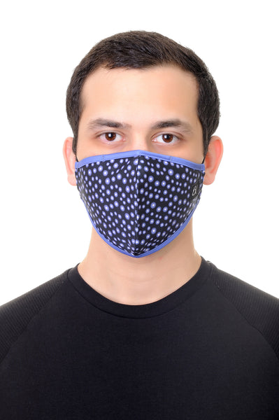 Face Mask Royal Blue Gears Print