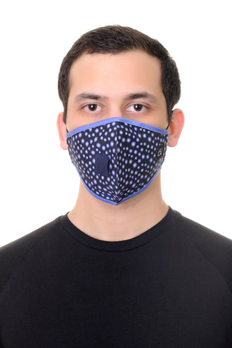 Face Mask W/ Straw Hole Royal Blue Gears Print