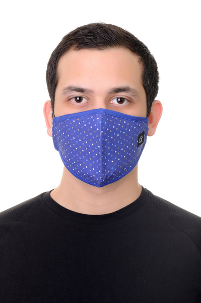 Face Mask Royal Blue Polka Dots Print